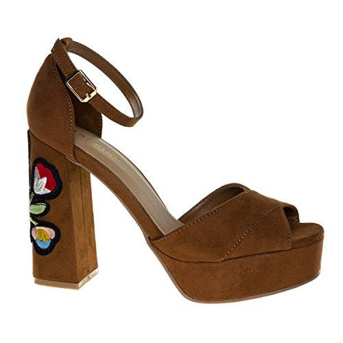 Spirit16s Chestnut Floral Embroidery Stitching On High Chunky Block Heel Platform Sandal  5 5
