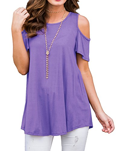 (PrinStory Women's Short Sleeve Casual Cold Shoulder Tunic Tops Loose Blouse Shirts Light Purple-XL )
