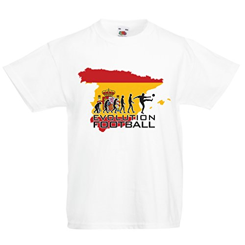 fan products of lepni.me N4497K Kids T-Shirt Evolution Football - Spain (3-4 Years White Multicolor)