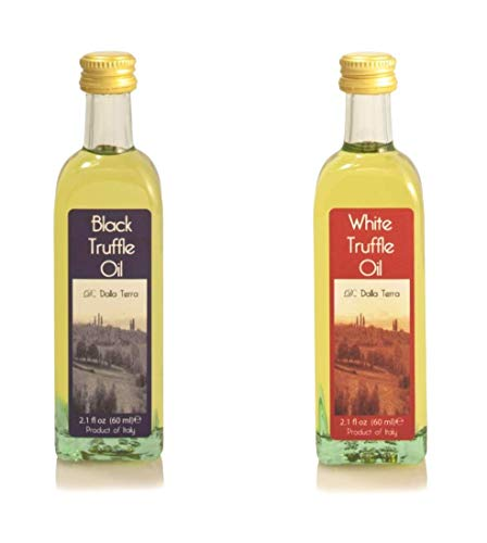 (Truffle Flavored White and Black Olive Oil Selection Set (2 x 2.1 Oz) | By D. Dalla Terra | Made In Italy With Natural Aroma. Truffle Flavor is Perfect For Fish, Pasta, Meat)