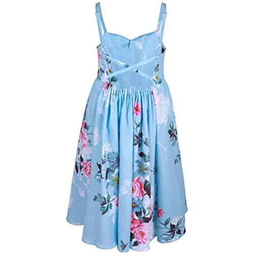 (Flofallzique Flower Girls Dress Vintage Floral Blue Sundress for 1-12 Y Toddler to Big Gilrs (6 Years Old, Blue))