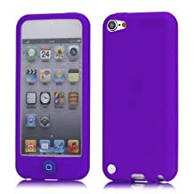 JUJEO Jellybean Home Button Rubber Silicone Case for iPod Touch 5, Purple