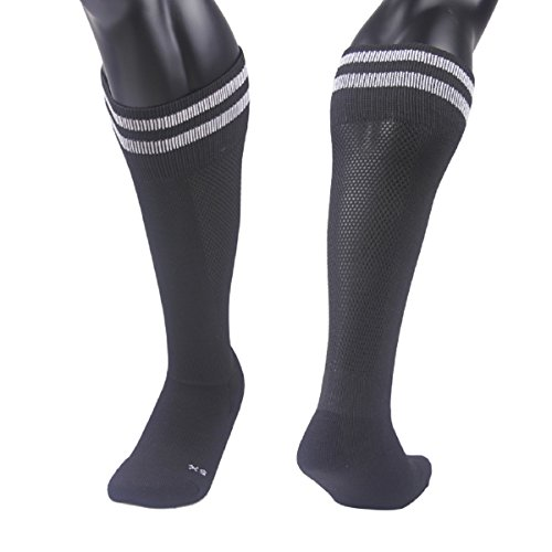 Price comparison product image Lovely Annie Unisex Children 2 Pairs Knee High Sports Socks for Baseball/Soccer/Lacrosse XS(Black)
