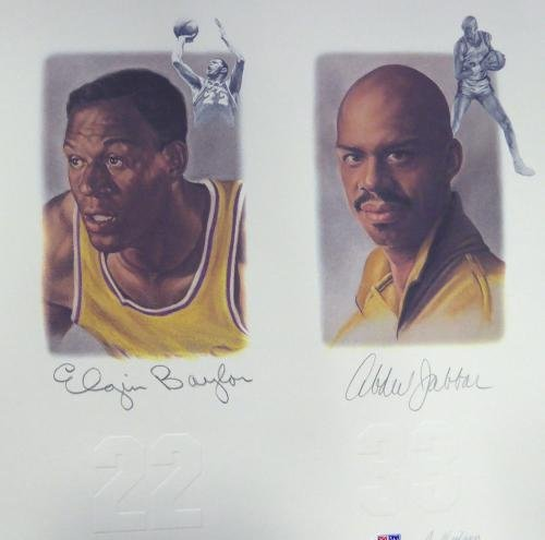 Lakers Legends Autographed Lithograph 5 Sigs Chamberlain Jabbar 111013 PSA/DNA Certified Autographed NBA Art