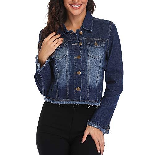 (andy & natalie Women's Crop Jean Jacket, Distressed Denim Jacket w 2 Side Pocket (XL(US 16), Blue))