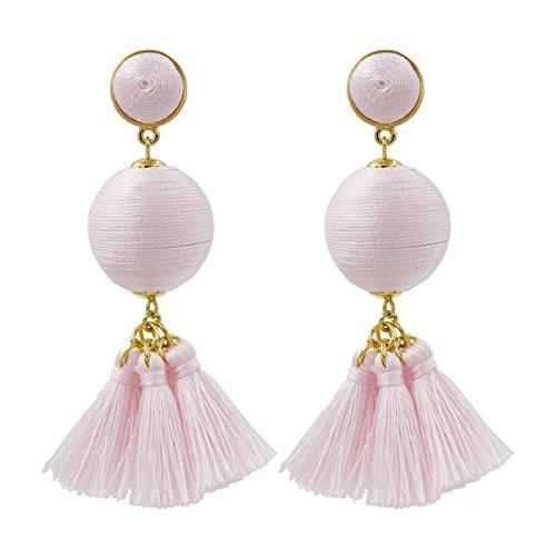 Fashion Jewelry Tassel Earrings w/ Tiered Thread Multi Layered Pendant Dangle Drop Earring (Tango Ball(Short)-Pink)