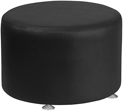Flash Furniture HERCULES Alon Series Black LeatherSoft 24″ Diameter Round Ottoman