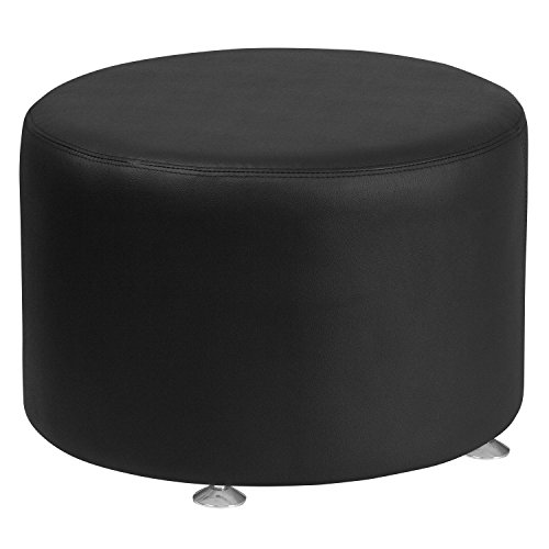 Flash Furniture HERCULES Alon Series Black Leather 24 Round Ottoman