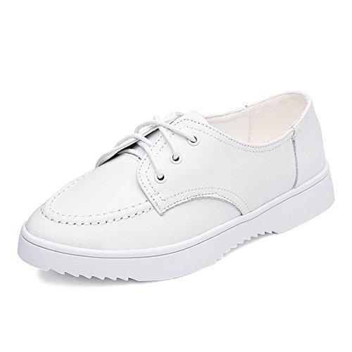 zapatos de las mujeres del otoño/Zapatitos blancos/Zapatos de cuero/Zapatos Casual estudiante/Zapatos de mujer/niña negro/Zapatos de mujer planos A