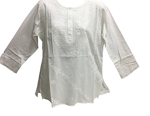 Classic Indian Gauze Cotton Embroidered Plus Long Sleeve Sixties Blouse (XL, White)]()
