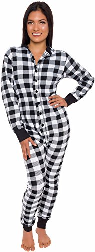 Silver Lilly Plaid One Piece Pajamas - Unisex Adult Union Suit Pajamas with Drop Seat (Black/White, Large)