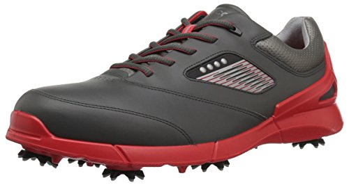 ECCO Men's Base One Golf Shoe, Black/Scarlet Hydromax, 11 M US