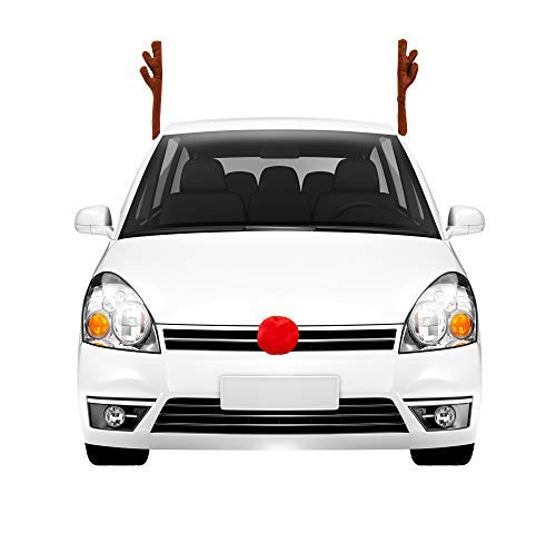 Auto Car Reindeer Antlers for Car with Plush Nose for Car Grille, Window Roof-Top & Front Grille Reindeer Christmas Car Costume Auto Accessories, Full Set with 2 Antlers and 1 Reindeer Nose]()