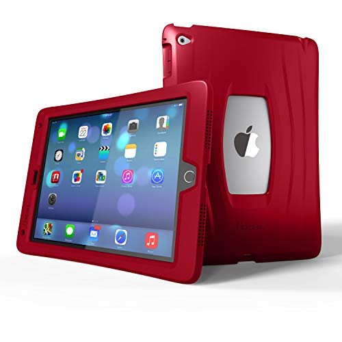 UZBL iPad 9.7 Case 2018/2017, AirWave Slim Lightweight Heavy Duty 1-Piece Silicone Case with Air Cell Drop Protection, for Apple iPad 5th / 6th Gen, Lava Red