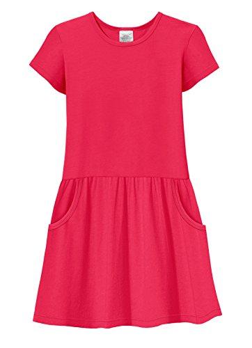 City Threads Girls Jersey Short Sleeve Drop Waist French Pocket Dress Cotton SPD Sensory Sensitive Summer School Party, Candy Apple, 12]()
