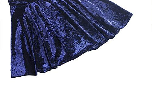 FISOUL Femmes Rtro Jupe Velours Plisse Patineuse Fille Elastique Court Mini Jupe Bleu Marin
