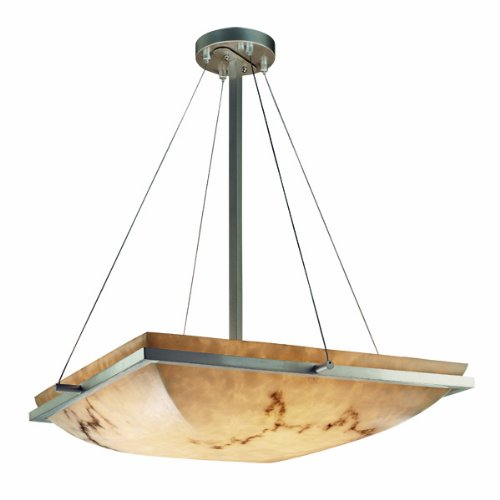 Justice Design Group FAL-9791-25-MBLK LumenAria Collection Square Pendant Bowl with Ring, 18