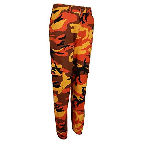 Avec poches Pantalon Fenteer À Camouflage Multi Pour Femmes Imprimé Orange xWgqISng
