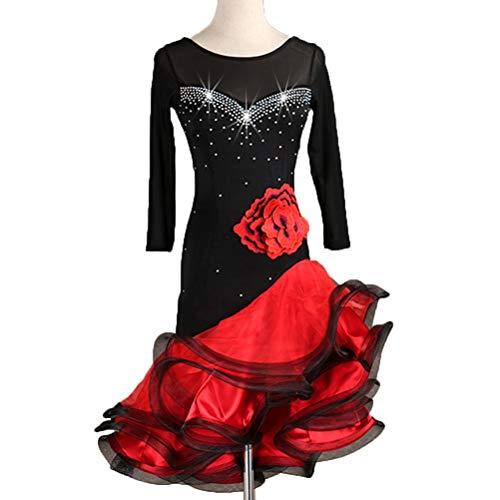 Calzamaglia Senza Danza Spalline Di Wangmei Salsa Manica Prestazione Vestiti Da Black Abiti Per Rumba Donna Latina Singolo Laterali Ballo hxsrCdtQ