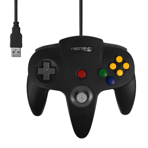 Retro-Bit Nintendo 64 Classic USB Enabled Controller (Wired) PC and MAC, Black