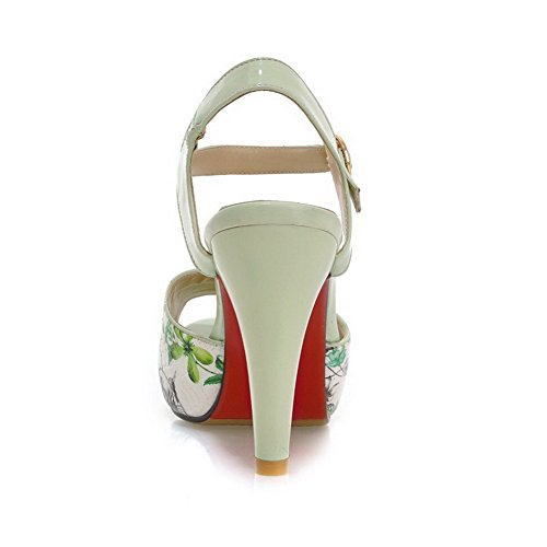 Sandali Con Fibbia A Punta Aperta In Pelle Assortiti Color Antracite Da Donna Amoonyfashion
