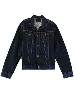 Mens Medium Dark-Wash Denim Jean Jacket Blue M