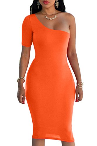 Orange Party Club Midi Dress