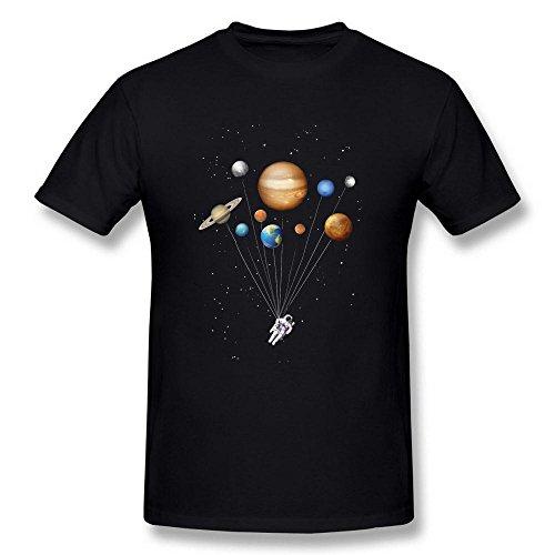 Swarz Men's Spaceman Astronaut Balloon Stars Fantasy 100% Cotton Creativity Short Sleeve Black T-Shirt