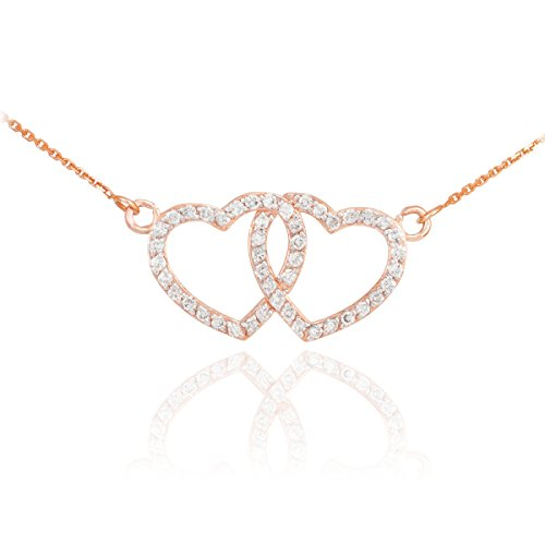 14 ct 585/1000 Or Rose Diamant decore DoubleCoeur Collier 0.50ct