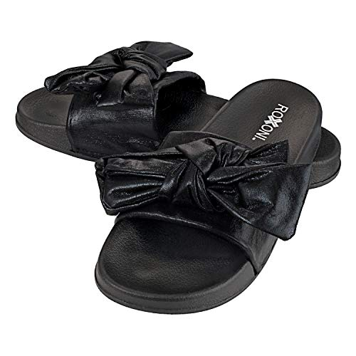 Roxoni Womens Bow Tie Sandal Open Toe Summer Slide Slipper -Great for Indoor/Outdoor ()