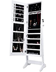 LANGRIA Free Standing Lockable Full Length Mirrored Jewellery Cabinet Armoire with 4 Angle Adjustable Organizer Storage for Rings, Earrings, Bracelets, Broaches, White Finish