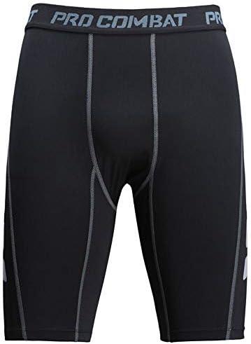 メンズコンプレッションショーツ メンズコンプレッショントレーニングパンツスポーツタイト5点ショーツ速乾性フィットネスショーツ 圧縮アクティブスポーツショーツ (色 : Black, Size : S)