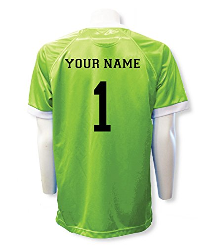Lime Green Jersey - Short Sleeve Goalie Jersey Personalized with Your Name and Number (with free keeper pin) - size Adult L - Lime