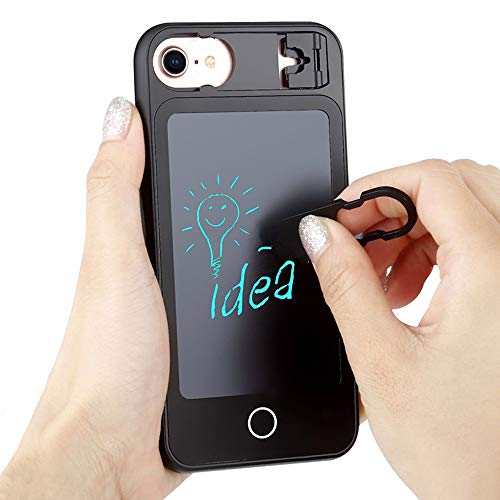 Notepad Summer (LCD Writing Tablet 5.5 Inch Phone Case with Wordpad Phone Case for iPhone 6 7 8 Plus, Mini Electronic Drawing & Writing Board Doodle Board with Folding Stand Notepads(Black))