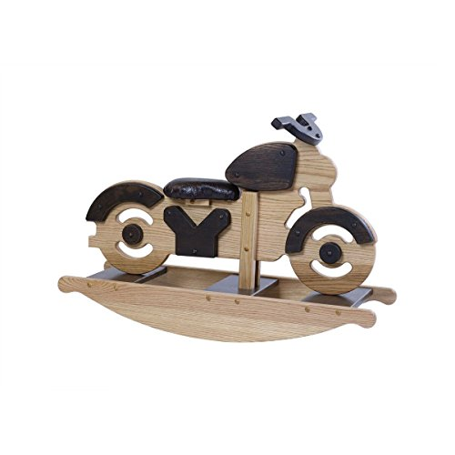 Amish Made Wooden motorcyle rocker for toddlers and kids childs Nursery Room decor decoration Hand Crafted in the USA Made of solid oak Size: 34'' W x 17'' h 12'' . by DaySpring Milestones by Dayspring