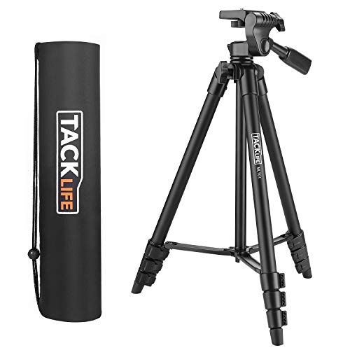 Tripod, 55-Inch Camera Tripod, Lightweight Aluminum Travel Tripod with Carry Bag, Maximum Load Capacity 6.6 LB, 1/4 Mounting Screw for Rangefinder, Digital Camera, iPhone - MLT01