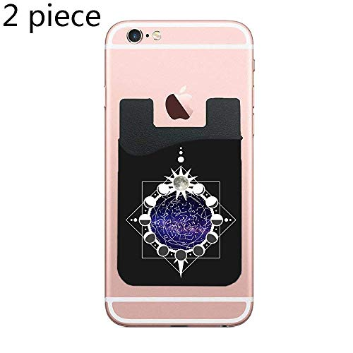 CardlyPhCardH Cell Phone Wallet, Stick on Wallet for Credit Card, Business Card and Id, Works with Almost Every Phone, Smartphones,Constellations and Lunar Phases - 2 Piece ()