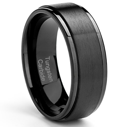 (Cavalier Jewelers 8MM Men's Tungsten Carbide Ring Wedding Band Black Plated, Brushed Top and Grooved Polished Edges [Size)