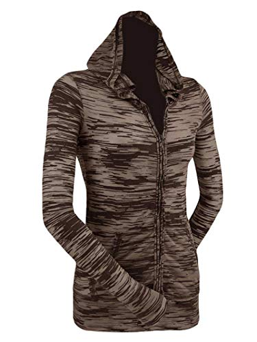 - Kavio! Junior Camouflage Striped Burnout Raw Edge Long Sleeve Zip Hoodie Brown/Camel M