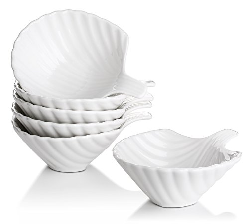 Lifver 6-Pack Bowl Sets/Ramekins, Lovely Shell-shape Porcelain Dip Bowls, White (Shaped Shell Bowl)