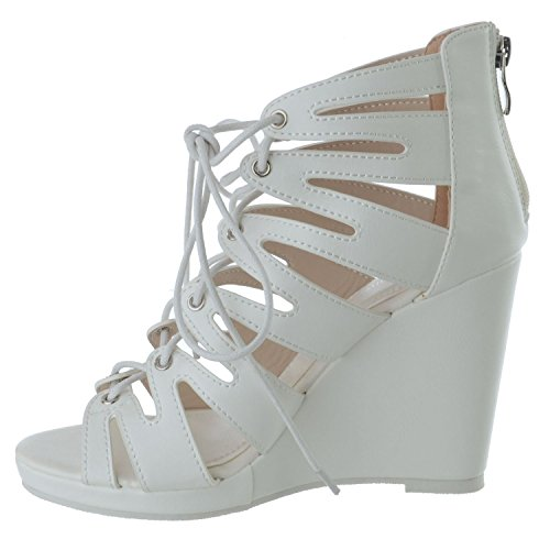 Miss Image UK Womens HIGH Heel Cut Out Wedges Sandals Ladies Platform Lace TIE Zip up Shoes Size White Faux Leather PVxHYw0