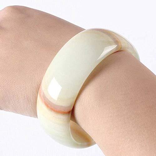 - FidgetKute Women Jade Bracelet Bangle Natural Real Jade Jewelry Charm Summer White Multi-Color 64mm