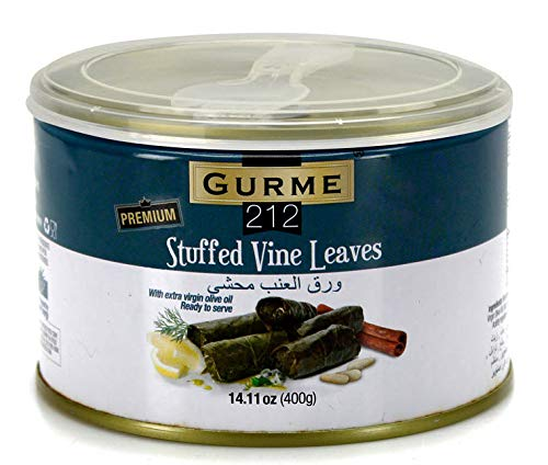 Gurme212 Premium 14 oz Stuffed Vine Leaves (Dolmades) with Easylid and Fork