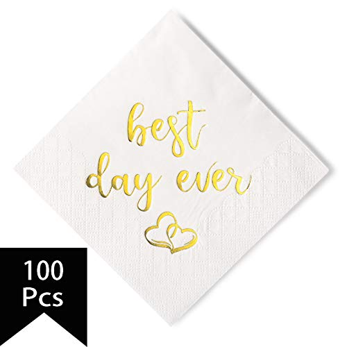 Crisky Wedding Cocktail Napkins Gold Best Day Ever, Bridal Shower and Engagement Party Decorations 100 Pcs, 3-ply