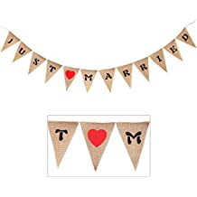 """Jute Burlap Just Married Bunting Banner Garland Signs for Rustic Vintage Wedding Photo Booth Props, Bridal Shower Backdrop Decoration, 5.1"""" by 7.1"""", 12pcs Flags"""