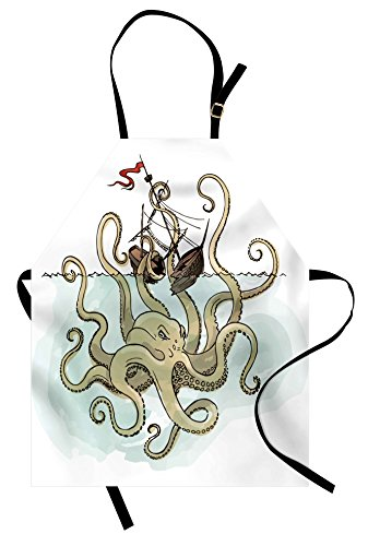 Ambesonne Kraken Apron, Octopus Sinking The Pirate Ships Greek Myth Fish Culture Cartoon Artwork Image, Unisex Kitchen Bib with Adjustable Neck for Cooking Gardening, Adult Size, Green -