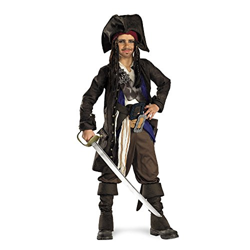 Disney Pirates of The Caribbean Captain Jack Sparrow Prestige Premium Boys Costume, Small/4-6 -