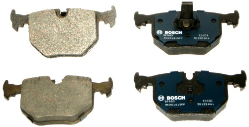 Bosch BP683 QuietCast Premium Semi-Metallic Disc Brake Pad Set For Select BMW 330Ci, 330i, 330xi, 525i, 525xi, 740i, 740iL, 750iL, M3, M5, X3, X5, Z4, Z8; Land Rover Range Rover; Rear