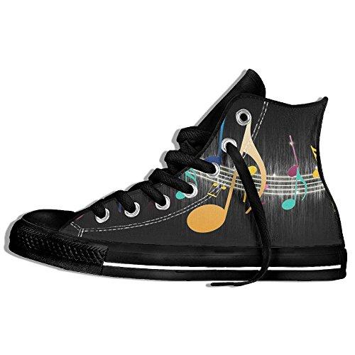 Baskets Montantes Classiques Chaussures De Toile Anti-dérapant Notes De Musique Casual Marchant Pour Hommes Femmes Noir