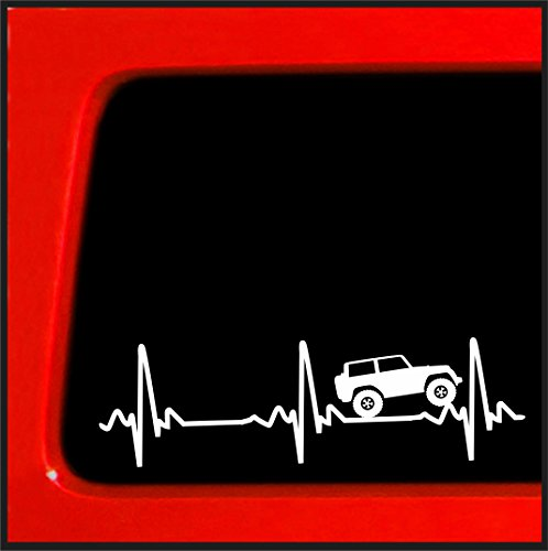 Heart Beat EKG for Jeep Wrangler - Sticker/Decal for Car, Truck, Laptop (2.5x8)